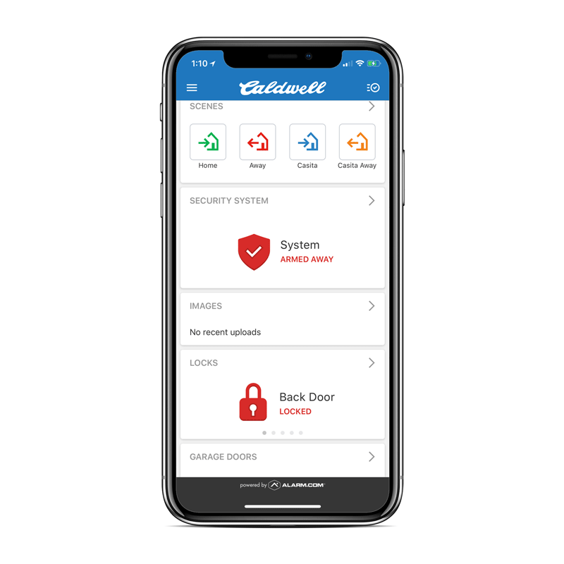 Security System app using alarm dot com